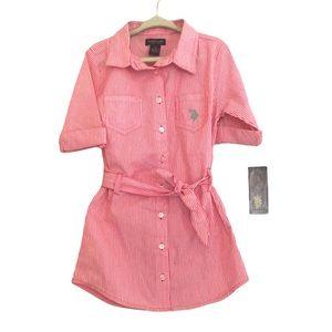 NWT Girls US Polo Assn Seersucker Dress 5T
